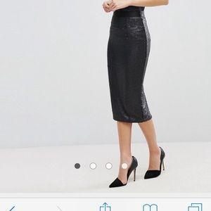 Asos Black Midi sequin skirt